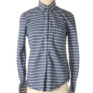 Gap blue & white striped button up shirt